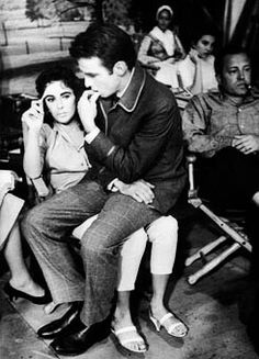 Elizabeth Taylor & Montgomery Clift on the set of Raintree County , photographed by Bob Willoughby, 1957.