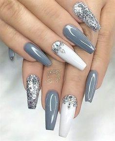 Best Acrylic Nails, Acrylic Nail Art, Acrylic Nail Designs, Nail Art Designs, Gray Nail Art, Autumn Nails Acrylic, Unique Nail Designs, Classy Acrylic Nails, Silver Nail Designs