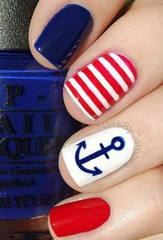 60 best ideas about Of July Nail art - Nail art designs & diy Nail Desing nail design ideas of july Cruise Nails, Patriotic Nails, Nautical Nails, Diy Nail Designs, Nautical Nail Designs, Anchor Nail Designs, Anchor Nail Art, Pedicure Designs, 4th Of July Nails