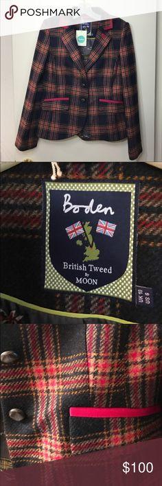 Boden Tweed blazer-still available! US size 6 new Boden blazer. Never worn. Navy blue, tan, orange, and red. Boden Jackets & Coats Blazers