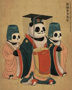 An Emperor And His Eunuch Servants In A Panda Kingdom Chinese Tang Dynastys Fashion
