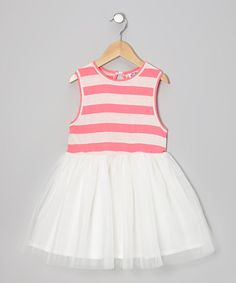 Another great find on #zulily! Coral Stripe A-Line Dress - Infant, Toddler & Girls #zulilyfinds