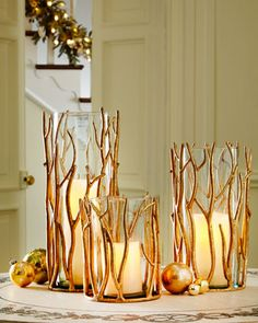 Golden Twig Hurricanes at Horchow. : Golden Twig Hurricanes at Horchow. Golden Twig Hurricanes at Horchow. Golden Twig Hurricanes at Horchow. Handmade Home Decor, Diy Home Decor, Room Decor, Decoration Christmas, Deco Table, Diy Home Crafts, Wood Crafts, Easy Diy, Decorating Ideas