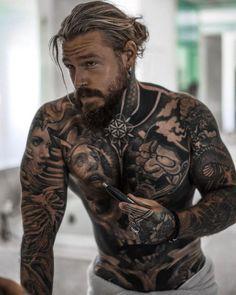 Sexy Tattooed Men, Bearded Tattooed Men, Bearded Men, Bearded Dragon, Beard Styles For Men, Hair And Beard Styles, Long Hair Styles, Bart Tattoo, Hot Guys Tattoos