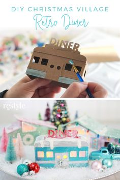 Diy christmas 273101164890407873 - DIY Christmas Village Retro Diner Putz House by Robb Restyle painted with DecoArt Dazzling Metallics Source by decoartinc Christmas Night, Christmas Gifts For Women, Christmas Love, Vintage Christmas, Christmas Holidays, Christmas Mantles, Victorian Christmas, Vintage Santas, Vintage Ornaments