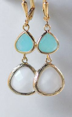 White Teardrop and Turquoise Jewel Dangle Earrings