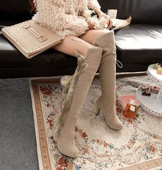Women'S Fur Fleece Over The Knee High Boots Stilettos Winter Gladiator Shoes