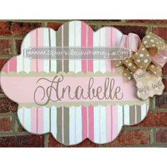 Personalized Striped Baby Sign For Hospital Door (Pink/Taupe) Children  Housewares  Room Decor  Baby  door  personalize  door decoration  hospital  baby shower  TeamEtsyBABY nursery decoration  monogram  shower decoration  children wall art  Sparkled Whimsy