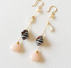 pyrene shell and pink opal earrings .(E107)
