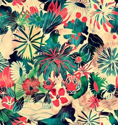 Vibrant Jungle Print. Although European menageries were not as tropical as this image, the size of the plants and small amount of space between them reminds me of a menargerie