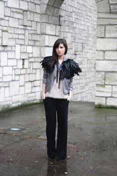 a feather capelet over a jacket... |  le blog de betty