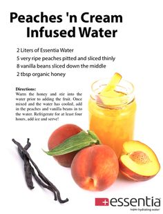 Peaches 'n Cream Infused Water recipe.using regular water though Yummy Drinks, Healthy Drinks, Healthy Snacks, Healthy Recipes, Detox Drinks, Infused Water Recipes, Fruit Infused Water, Infused Waters, Detox Recipes