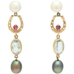 Preowned Pearl Gem Gold Horse Shoe Equestrian Earrings ($1,950) ❤ liked on Polyvore featuring jewelry, earrings, drop earrings, multiple, gold jewelry, gold earrings, yellow gold pearl earrings and gold pearl earrings