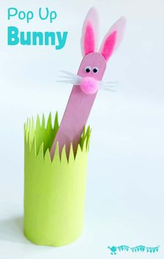 POP UP BUNNY RABBIT PUPPET A simple popsicle stick rabbit craft for Easter, Springtime or all year round. A fun homemade toy to promote imaginative play, story telling and games of peek-a-boo! craft popsicle sticks Pop Up Bunny Kids Crafts, Easter Crafts For Kids, Cute Crafts, Craft Stick Crafts, Preschool Crafts, Craft Ideas, Diy Ideas, Rabbit Crafts, Bunny Crafts