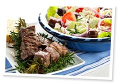 Cumin Lamb Skewers With Greek Salad Dessert Restaurant, Restaurant Restaurant, Restaurant Offers, Cumin Lamb, Greek Dinners, Lamb Skewers, Beef Kabobs, Cilantro Sauce, Anti Aging Supplements