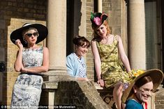 Bright and beautiful:Nurse Trixie Franklin (Helen George), Delia (Kate Lamb), Nurse Patsy Mount (Emerald Fennell and Shelagh (Laura Main), four of the female actresses in the latest series of Call The Midwife