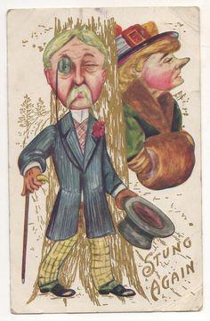 """Stung Again"" Early Century Fashion, Hats, Hand Muff, Vintage Postcard"