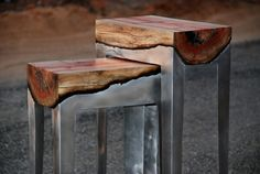 Moulton aluminum is poured into a mold with a wooden log in the bottom causing it to char