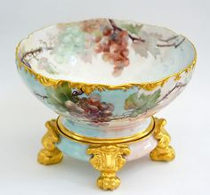 LIMOGES-HAND-PAINTED-GRAPES-PUNCH-BOWL-ON-PAW-FOOTED-PLINTH-BASE