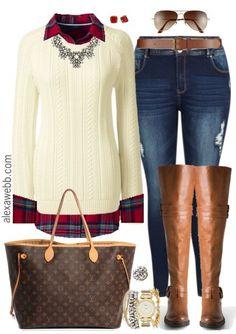 Plus Size Plaid Flannel & Sweater Outfit - Plus Size Fashion for Women - alexawebb.com #alexawebb