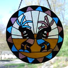 Kokopelli stained glass Panel / ediescreations.net 115$ /SOLD