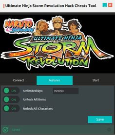 Ultimate Ninja Storm Revolution Hack Cheats Tool. With this software you will save your time and money. This software contains functions like:Unlock all character, Unlimited Ryo, Unlock all Items and also implemented unique algorithm make this app 100% undetected