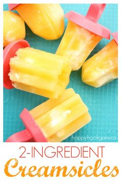 Healthy homemade creamsicles with just 2 ingredients! They taste just like the real thing (or better!), and they're so much healthier than store-bought! Popsicle Recipes, Snack Recipes, Dessert Recipes, Kid Recipes, Frozen Desserts, Cold Desserts, Delicious Desserts, Yummy Food, Food Cakes