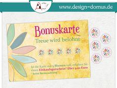 Sonnige #Bonuskarte mit Punkten. Erhältlich bei: http://shop.design-domus.de/Geschaeftsausstattung/Mini-Bonuskarten-mit-Stickern-bunte-Blume::45.html