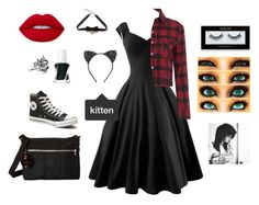 """""""Wat I would have worn on Halloween"""" by derpybabyguppy ❤ liked on Polyvore featuring Converse, Essie, Inglot, Cara, Lime Crime, COS and Kipling"""