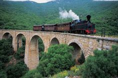 Pelion railway was a narrow gauge mm ft 11 in)) railway line of Thessaly Railways in Greece, connecting the city of Volos with the town of Mileai on Pelion. Ancient Greek Theatre, Stone Road, Destinations, Greece Holiday, Europe, Ancient Ruins, Medieval Castle, Thessaloniki, Beautiful Islands
