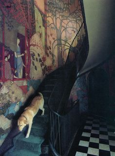 favorite! narrative, colors, the whole nine yards. loved by www.herrsuite.com // mural, home decor, painting, wall, hand-painted, stairs, dog, wonderful