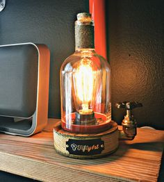 Upcycled Elijah Whiskey Bottle Lamp  by Fifty1st on Scoutmob