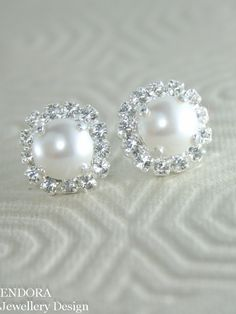 Bridal earringspearl bridal earringsWhite pearl by EndoraJewellery