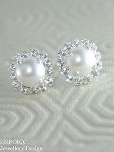 Bridal earringspearl bridal earringsWhite pearl by EndoraJewellery