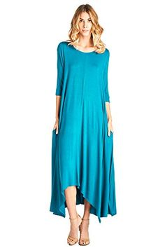 Special Offer: $30.00 amazon.com Made from soft rayon, this is our favorite dress featuring a round neck, pockets, 3/4 sleeves, and maxi silhouette.Soft t-shirt rayon with pocketsMade in USA95% Rayon 5% SpandexModel is 5'7 and wearing a size Small, please see Women's Size Chart...