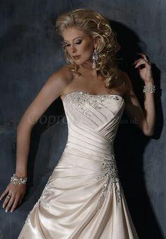 satin Asymmetric waist beaded criss cross Wedding Dress picture 3