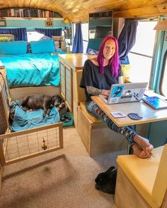 Two People and 5 Rescued Animals (Including Two Bunnies) Travelling in a Renovated Bus! School Bus Tiny House, Tiny House Talk, Tiny House Living, Bus Living, Bus Life, Diy Projects For Beginners, Composting Toilet, Tiny Houses For Sale, Fun Hobbies