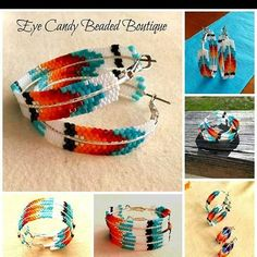 Beaded hoop earrings with bugles, delicas and seed beads - Beading Tutorial - Love is Love Beaded Earrings Native, Beaded Earrings Patterns, Native Beadwork, Native American Beadwork, Indian Beadwork, Bracelet Patterns, Native Beading Patterns, Beadwork Designs, Bead Loom Patterns