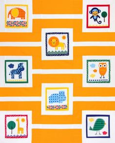 "A Day at the Zoo is a free quilt pattern from Robert Kaufman Fabrics. Designed by Chicken Julie, the quilt uses the Urban Zoologie panel from @Kelle Boyd / Ann Kelle and Kona Cotton solids to create a fun throw quilt. Finished size: 50"" x 62"""