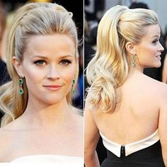An absolute favorite Reese Witherspoon look. Ponytails are a great option for a formal event!