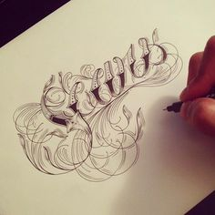 Hand Type Vol. 8 by Raul Alejandro , via Behance Typography Sketch, Tattoo Lettering Fonts, Hand Lettering Alphabet, Lettering Styles, Typography Design, Pencil Tattoo, Filigree Tattoo, Art Therapy Projects, Digital Art Fantasy