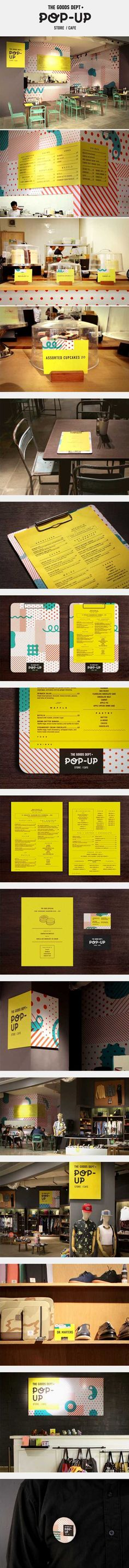 The Goods Dept rolled out a pop-up store/cafe in preparation for its third store that is soon opening in Lotte Avenue. As a twist to this temporary space, we along with The Goods Dept's team decided to introduce pattern and colors alongside their monochromatic colour palette to create exciting contrast. #PopUpRetail #RetailDesign pop up shops, brand identity, behance, inspir, popup storecaf, clipboard, design, dept popup