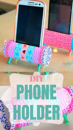 Check out this easy peasy DIY Phone Holder! A fun and easy way to reuse and recycle those toilet paper rolls, this DIY Phone Stand is both cute and practical! home diy crafts DIY PHONE HOLDER Diy Crafts For Girls, Diy Crafts Hacks, Easy Diy Crafts, Diy Crafts Videos, Diy Craft Projects, Diy Crafts To Sell, Diy Videos, Sell Diy, Cool Crafts