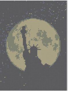 Statue of Liberty Moon Cross Stitch Patt