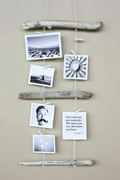 Kreativ Fotos aufhängen – Mit Holz und Garn Creative photos hanging – with wood and yarn As you dru photos on woodDropped tree branch with hit's a jungle in here Driftwood Projects, Driftwood Art, Driftwood Ideas, Driftwood Mobile, Painted Driftwood, Driftwood Beach, Art Diy, Arts And Crafts, Diy Crafts