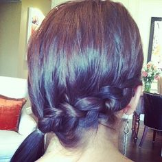 Lindsay's French Braid.  Pull hair from one side only to get this cute look :)