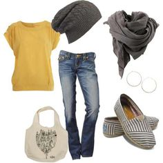 Love the yellow shirt and the Toms.