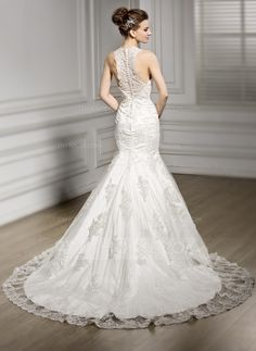 Trumpet/Mermaid V-neck Chapel Train Tulle Lace Wedding Dress With Beading Sequins (002056601)