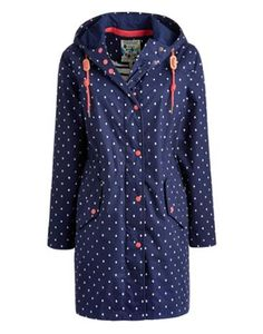 Joules Womens Waterproof Parka, Navy Spot.                     Part of our Right as Rain collection our longer length parka-style rain coat is PU coated and has taped seams to make it 100% waterproof.  A drawstring hood and button cuffs keep the draughts out while an inner drawstring designed to pull in the waist gives the coat a flattering shape.