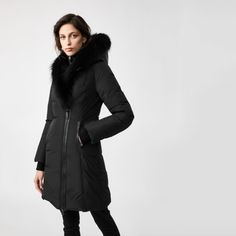 It's cold outside! ❄ Keep warm in this gorgeous 'Kay XR' Black Down Coat With Silver Fox Collar from Mackage! 😍⠀What else could a girl want for the New Year?! 😉